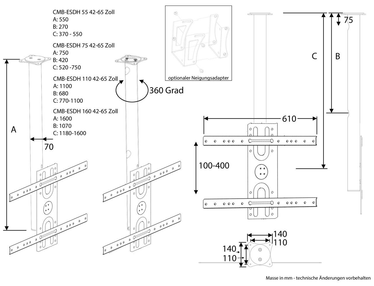 edelstahl tv deckenhalterung cmb esdh 42 65 zollg nstig kaufen cmb systeme. Black Bedroom Furniture Sets. Home Design Ideas