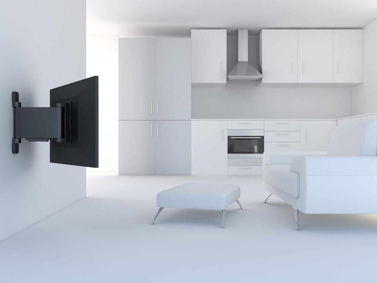 ... Vorschau: Montagebeispiel Motorisierte Elektrische Schwenkbare VESA  TV Wandhalterung 32 55 Zoll ...