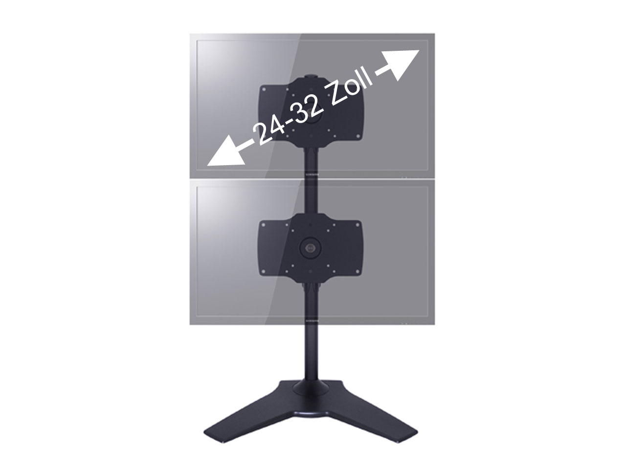 tv tischhalterung 2 bildschirme bereinander 24 32 zoll. Black Bedroom Furniture Sets. Home Design Ideas
