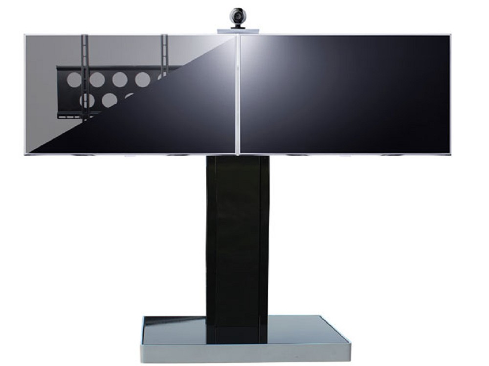 poi tower duo tv st nder f r 2 monitore rollbar 40 55 zoll g nstig kaufen cmb systeme. Black Bedroom Furniture Sets. Home Design Ideas