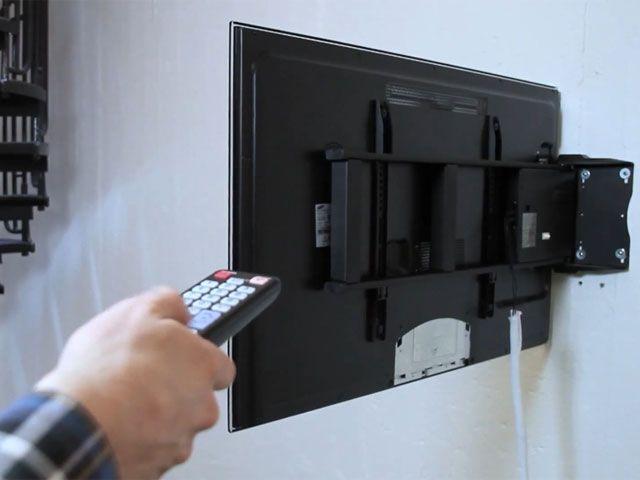 fernbedienbare mit motor schwenkbare wandhalterung f r. Black Bedroom Furniture Sets. Home Design Ideas