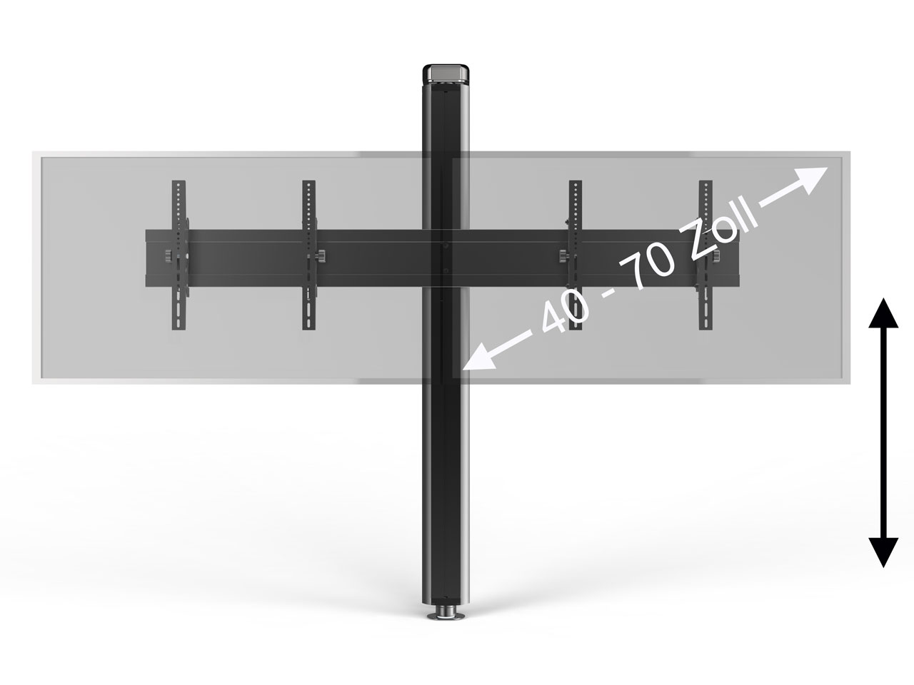 wand boden tv s ulenhalter schwarz f r 2 bildschirme 40 70. Black Bedroom Furniture Sets. Home Design Ideas