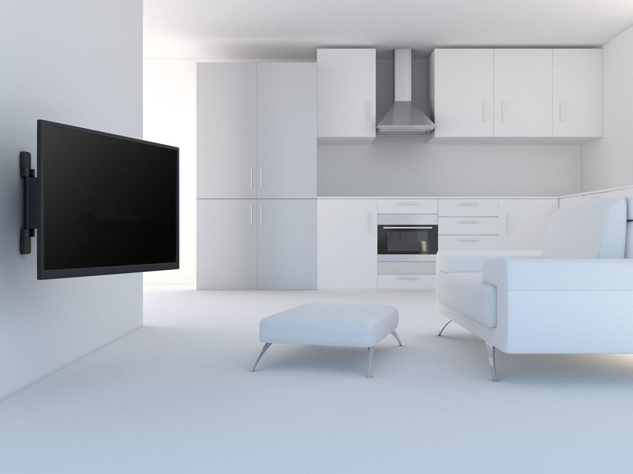 ... Vorschau: Aufbaubeispiel Motorisierte Elektrische Schwenkbare VESA  TV Wandhalterung 32 55 Zoll ...