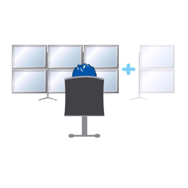 Anzahl der Bildschirme neben- und übereinander