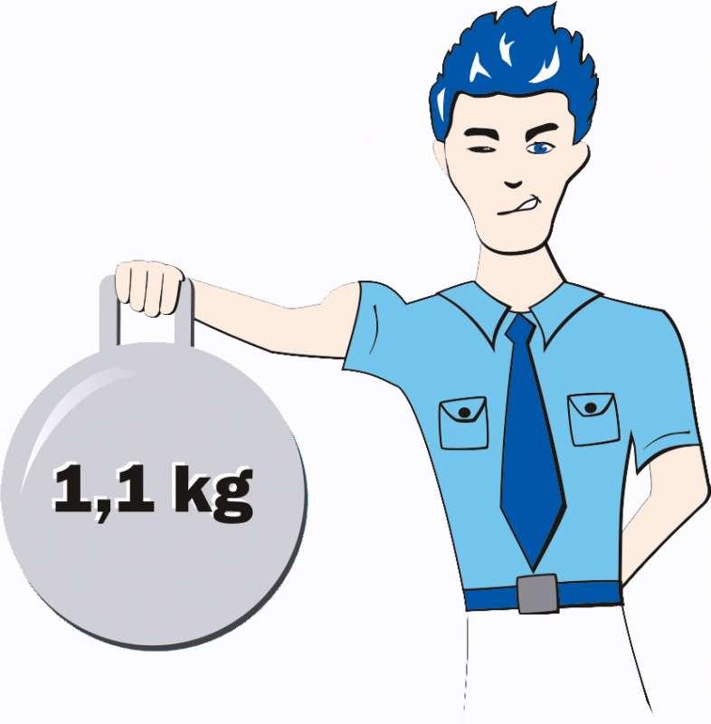 Geringes Eigengewicht von 1 bis 1,1 kg