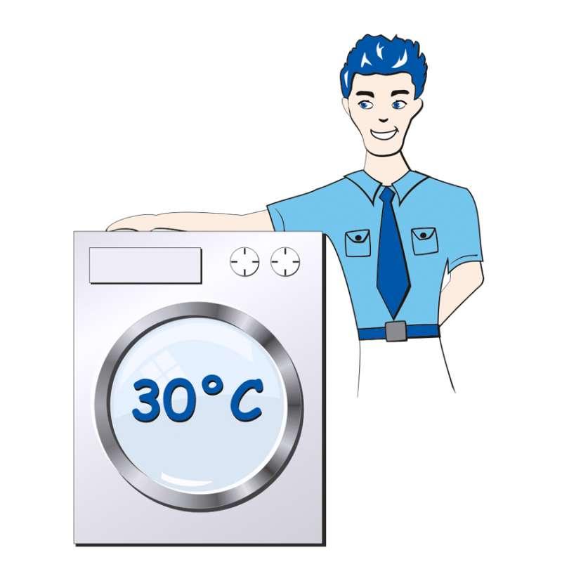 Bei 30° Celsius in der Waschmaschine waschbar