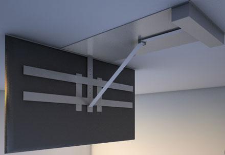 klappbare tv deckenhalterung f r den fernseher motorisiert mit fernbedienung cmb systeme. Black Bedroom Furniture Sets. Home Design Ideas