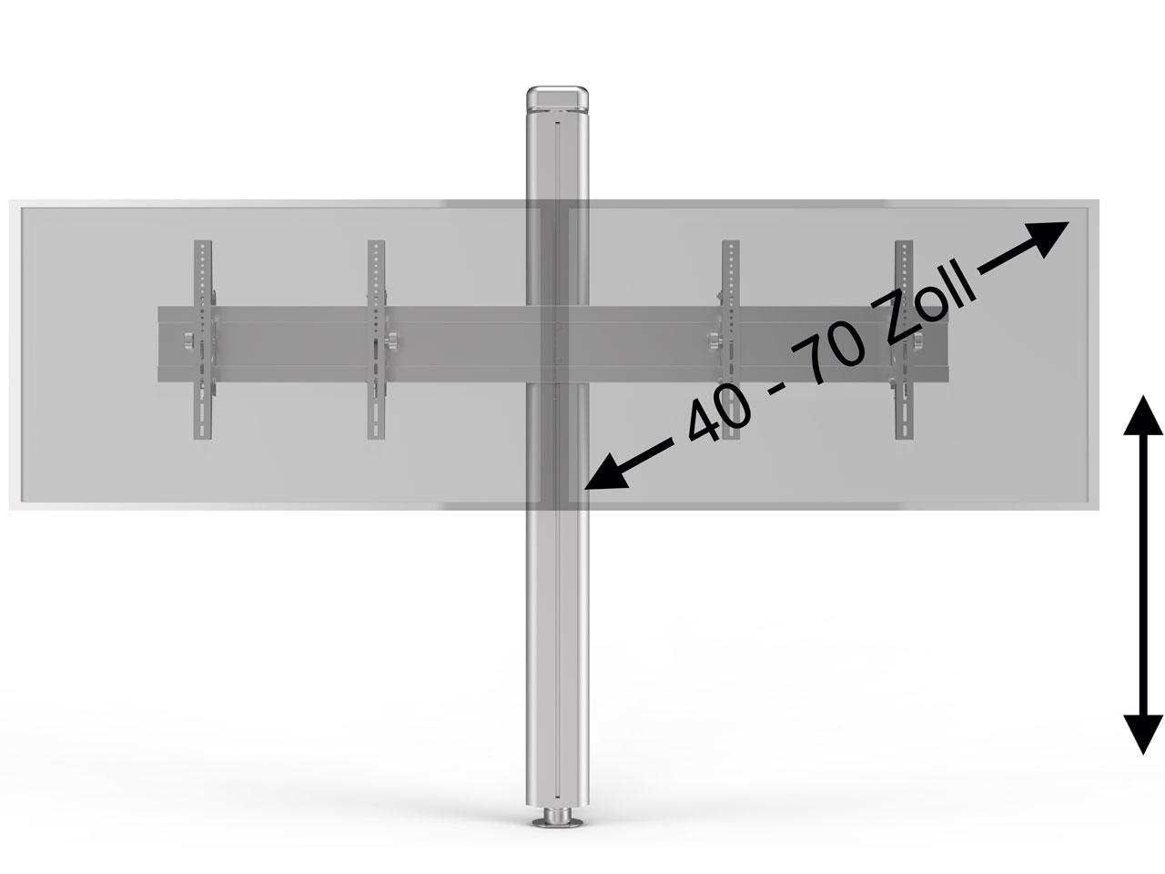 boden wand tv s ulenhalter silber f r 2 bildschirme 40 70 zoll g nstig kaufen cmb systeme. Black Bedroom Furniture Sets. Home Design Ideas